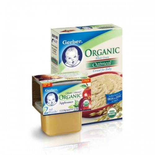 Gerber's baby food product line includes cereal, yogurt, and organic and regular baby food that are available in three different stages, 1st foods, 2nd foods, and 3rd foods. Gerber baby foods are designed for the many different stages a child goes through as they grow and develop.